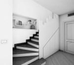 scala a chioccola stile classico con pedata ed alzata in marmo e parapetto in acciaio_designe fc arredamenti