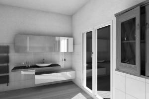 bagno stile moderno con mensola in noce canaletto verniciato, pensile laccato e pensile rivestito a specchio con illuminazione integrata, design fc arredamenti