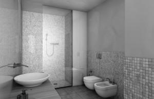 bagno stile moderno con mensola in rovere verniciato e mobile rivestito a specchio, design fc arredamenti