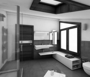 bagno stile moderno con mobili laccati e lavello in corian, design fc arredamenti