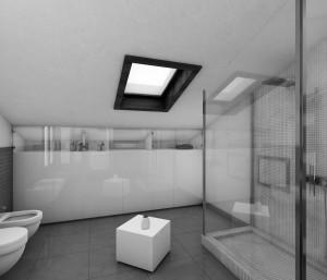 bagno stile moderno con mobili laccati ed in rovere verniciato, design fc arredamenti
