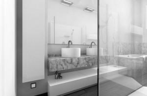 bagno stile moderno con mobile laccato e piano top in marmo, design fc arredamenti