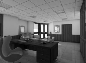 ufficio stile classico con armadiature boiserie e scrivania in noce verniciato, design fc arredamenti