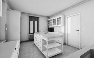 cucina stile classico con basi pensili e colenne laccate, piano top in marmo, design fc arredamenti