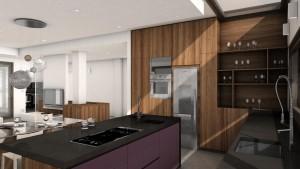 cucina stile moderno con basi e colenne laccate ed in abete verniciato, piano top in ardesia, design fc arredamenti