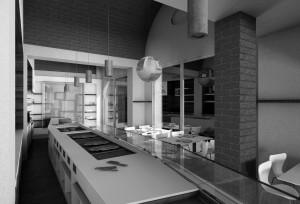 negozio panetteria pasticceria e bar salumeria stile moderno con banco vendita rivestito in corian, boiserie in laminato legno ed elementi d'arredo in corian e cris