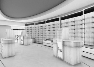 negozio farmacia stile moderno con casse e boiserie in laminato legno ed elementi d'arredo in cristallo e bronzo, design fc arredamenti